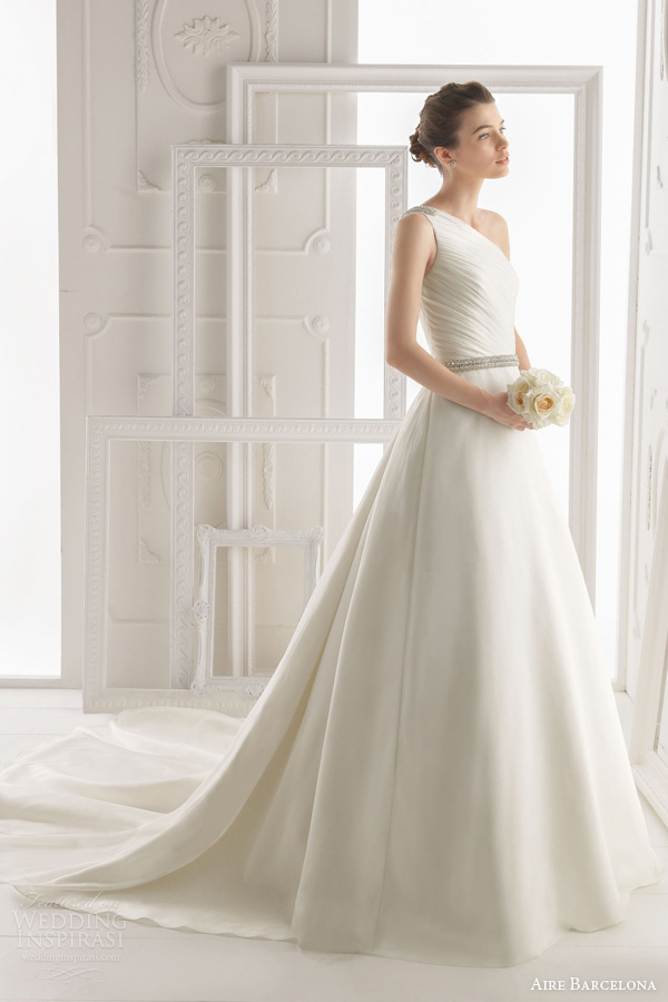 aire barcelona 2014 orion one shoulder wedding dress