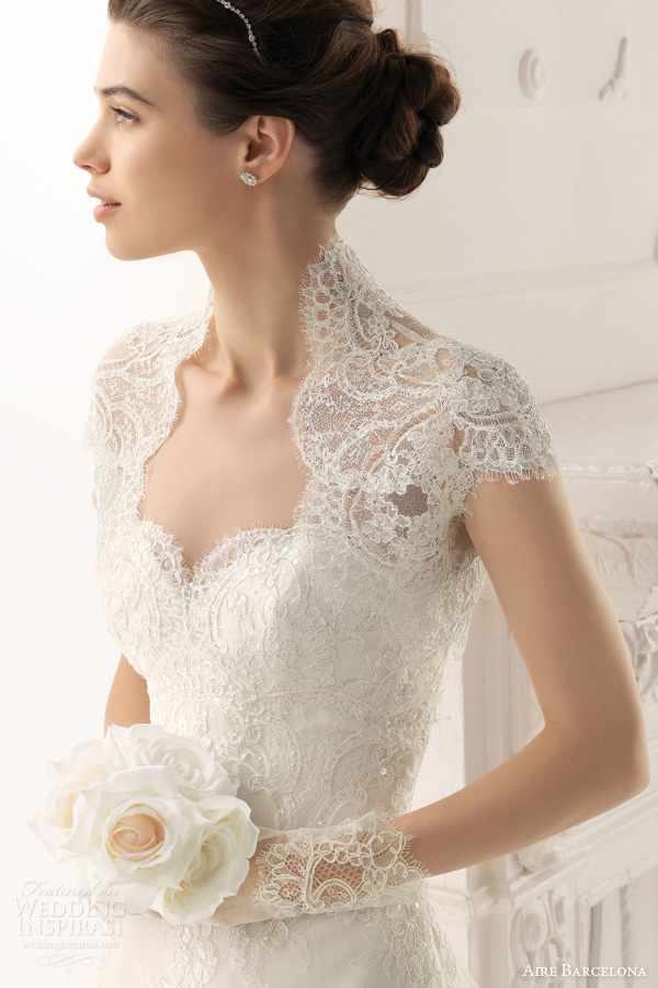 f8aed63ec834 Aire Barcelona 2014 Bridal Collection. Lace Wedding Dresses. aire barcelona  2014 overol short sleeve lace bolero ...