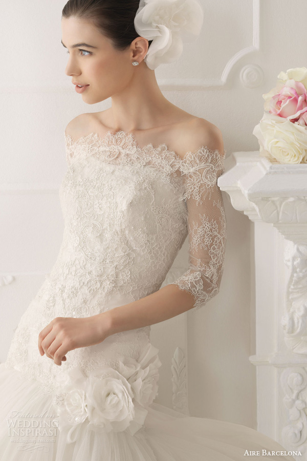 aire barcelona wedding dresses 2014 bridal omar strapless fit flare gown off shoulder lace sleeve jacket