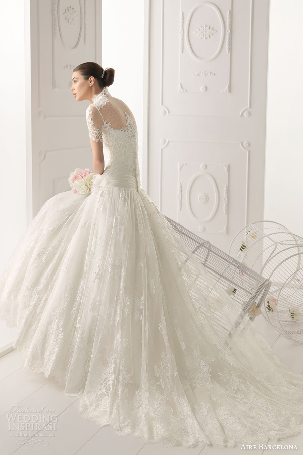 aire barcelona wedding dresses 2014 bridal ombra strapless fit flare gown short sleeve jacket