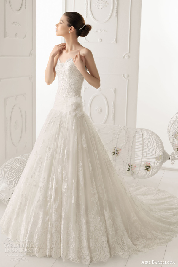 aire barcelona wedding dresses 2014 bridal ombra strapless fit flare lace gown