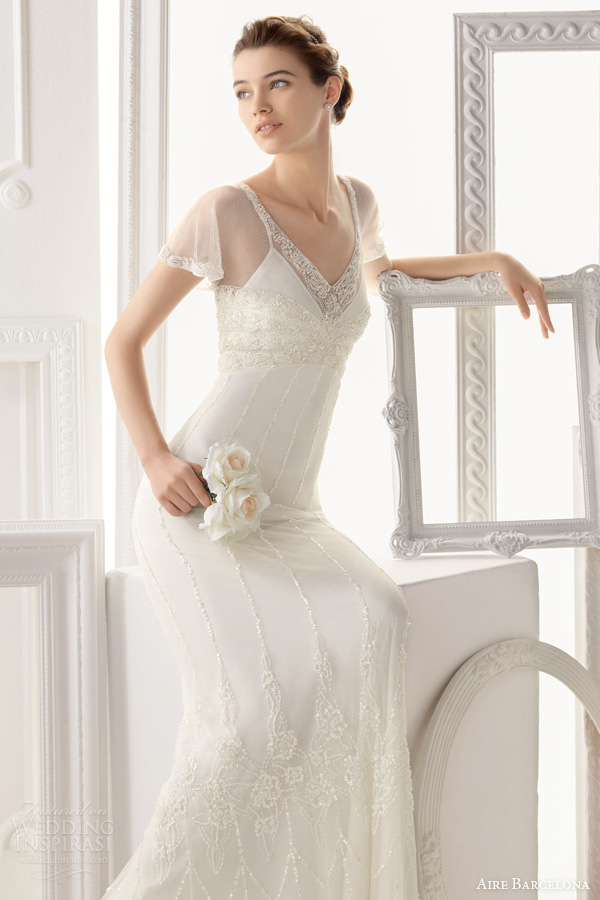 aire barcelona wedding dresses 2014 bridal ontario empire waist gown flutter sleeves