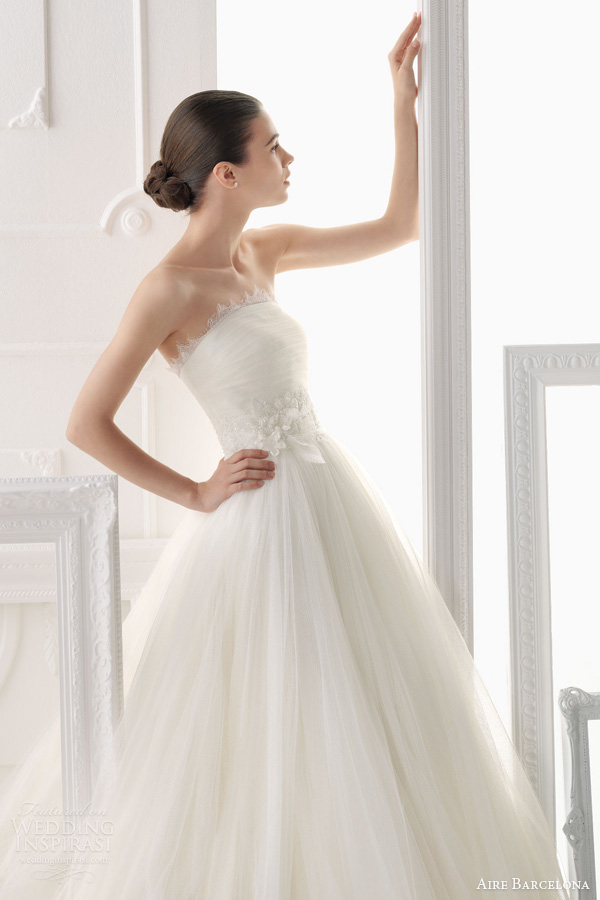 aire barcelona wedding dresses 2014 ocana strapless ball gown lace accents