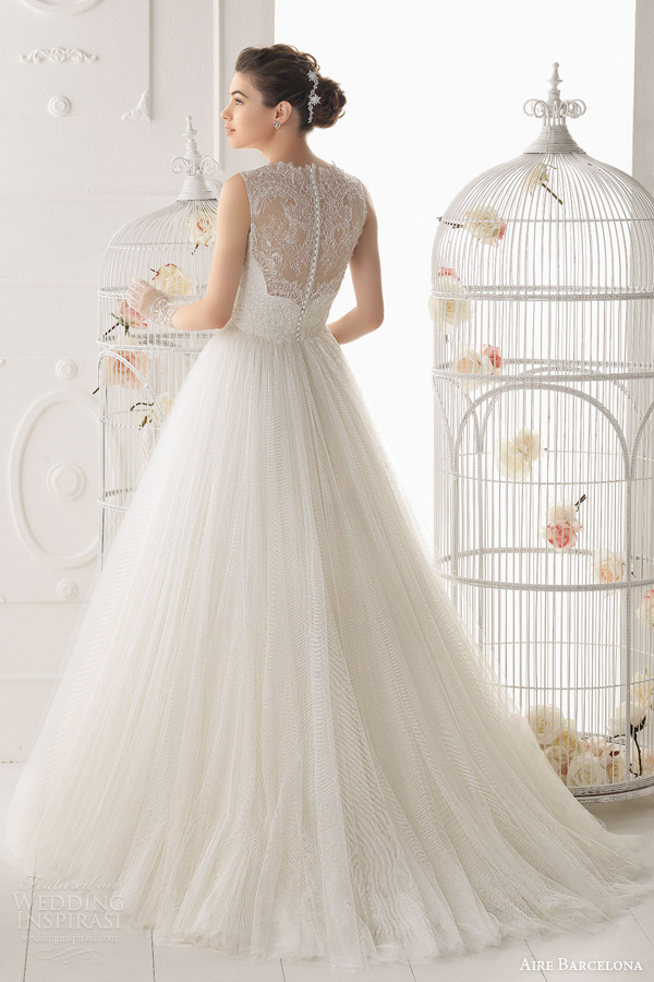 aire barcelona wedding dresses 2014 ocarina gown lace bodice illusion back train
