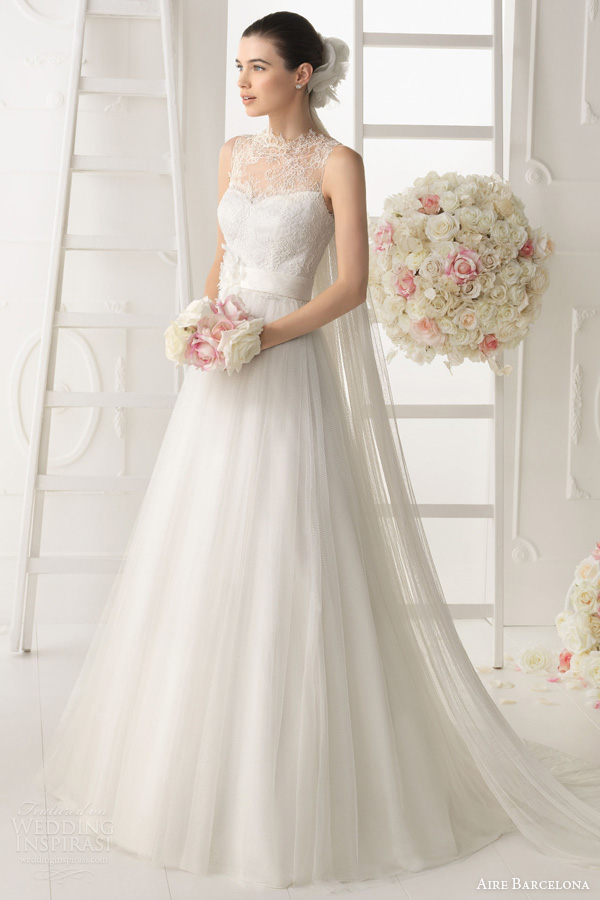 aire barcelona wedding dresses 2014 ocaso gown lace bodice