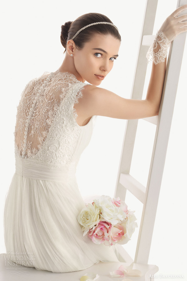 aire barcelona wedding dresses 2014 oceania sleeveless draped ruched gown empire waist lace accents illusion back