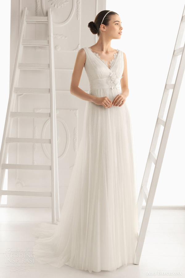 aire barcelona wedding dresses 2014 oceania sleeveless draped ruched gown empire waist lace accents