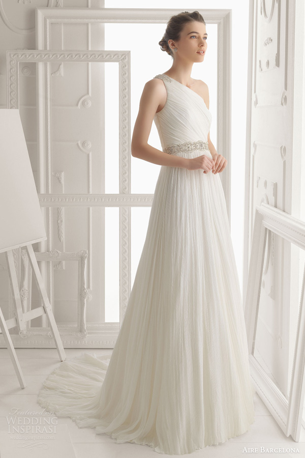 aire barcelona wedding dresses 2014 oceano one shoulder draped gown