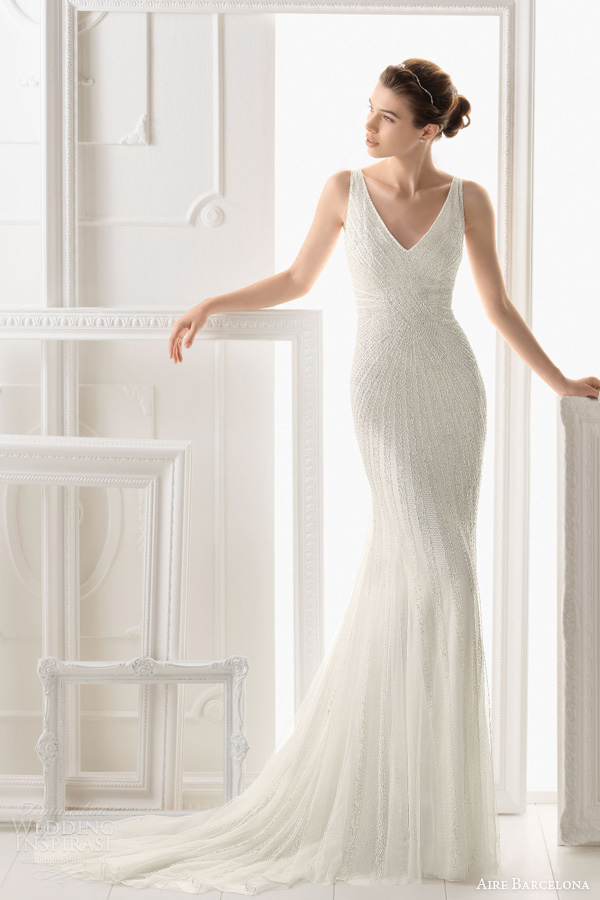 aire barcelona wedding dresses 2014 onice sleeveless beaded sheath gown