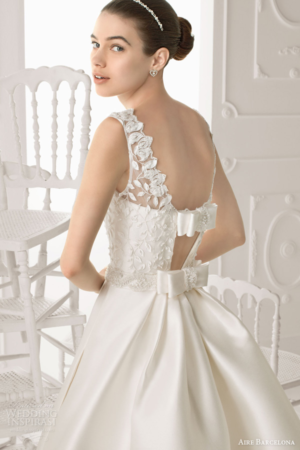 aire barcelona wedding dresses 2014 oropel bridal gown bow accent back