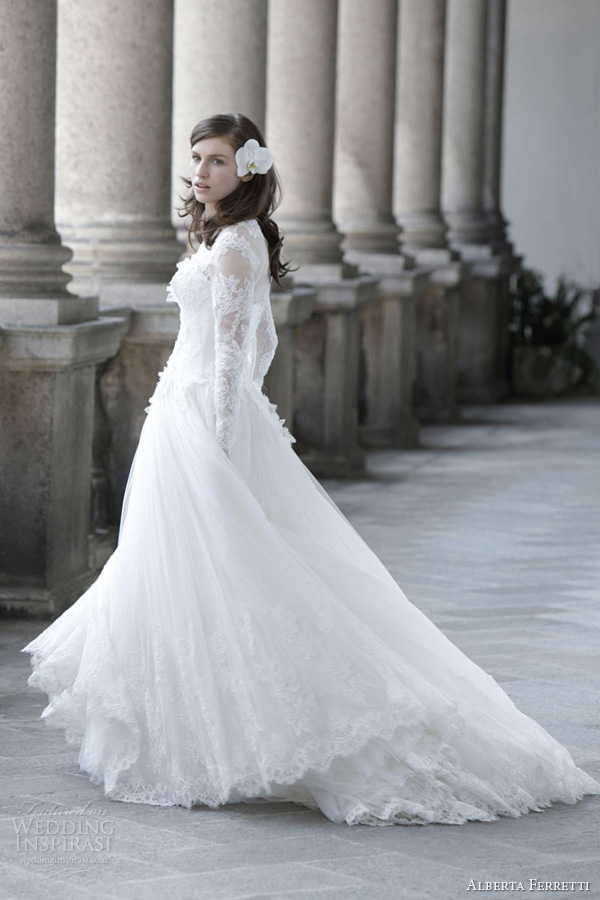 alberta ferretti bridal 2014 hermitage wedding dress long sleeves