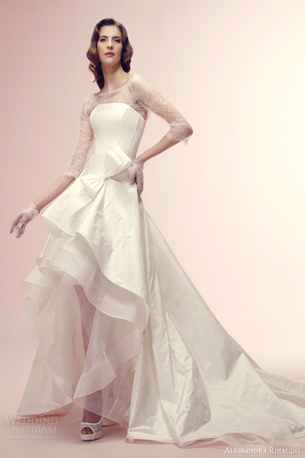 alessandra rinaudo 2014 bridal ressie wedding dress high low tier skirt three quarte sleeve lace bodice