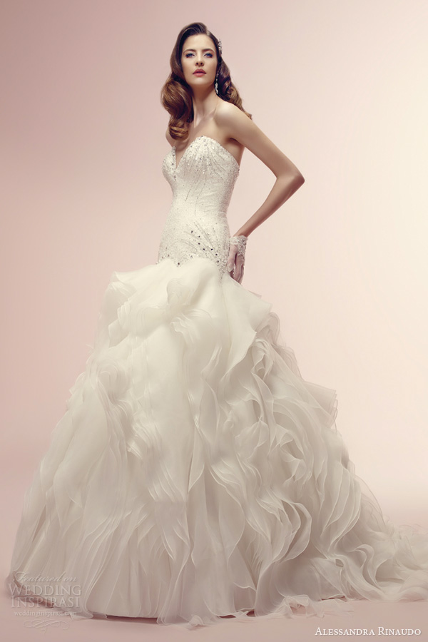 alessandra rinaudo 2014 bridal rhonda strapless wedding dress sweetheart bodice ruffle flange skirt
