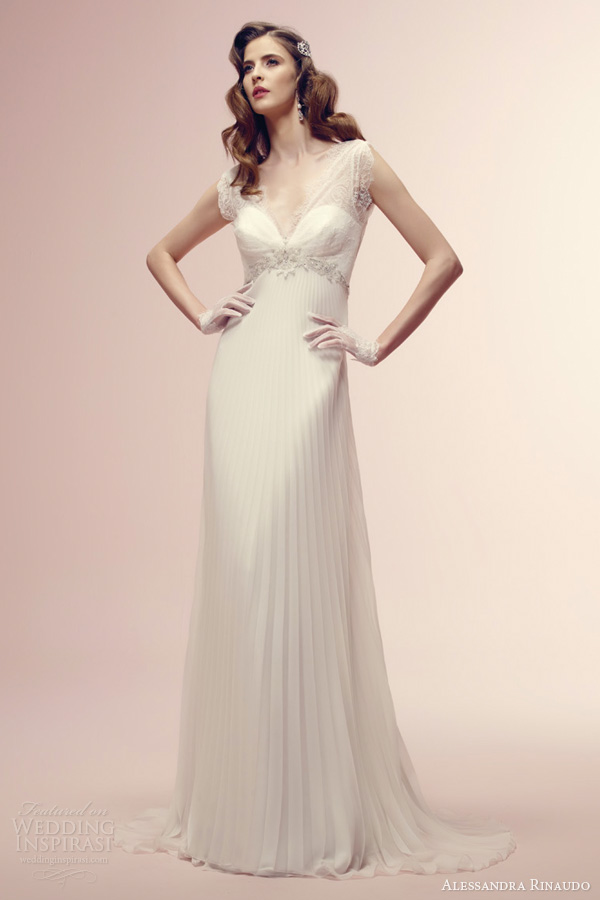 alessandra rinaudo 2014 bridal roberta romantic wedding dress lace sleeves pleated skirt
