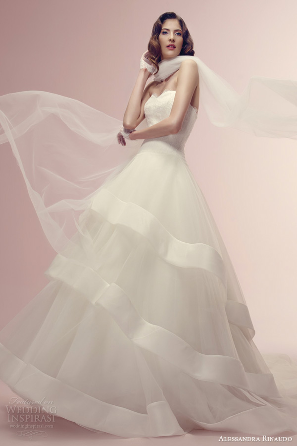 alessandra rinaudo bridal 2014 reem wedding dress strapless tier skirt