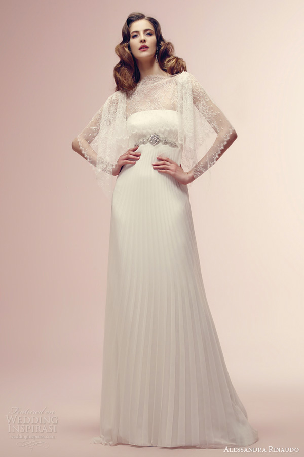 alessandra rinaudo bridal 2014 roisin wedding dress lace top empire waist pleated skirt