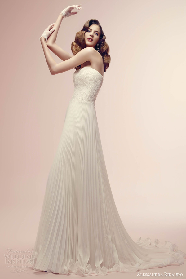 alessandra rinaudo wedding dress 2014 bridal raven empire gown pleated skirt