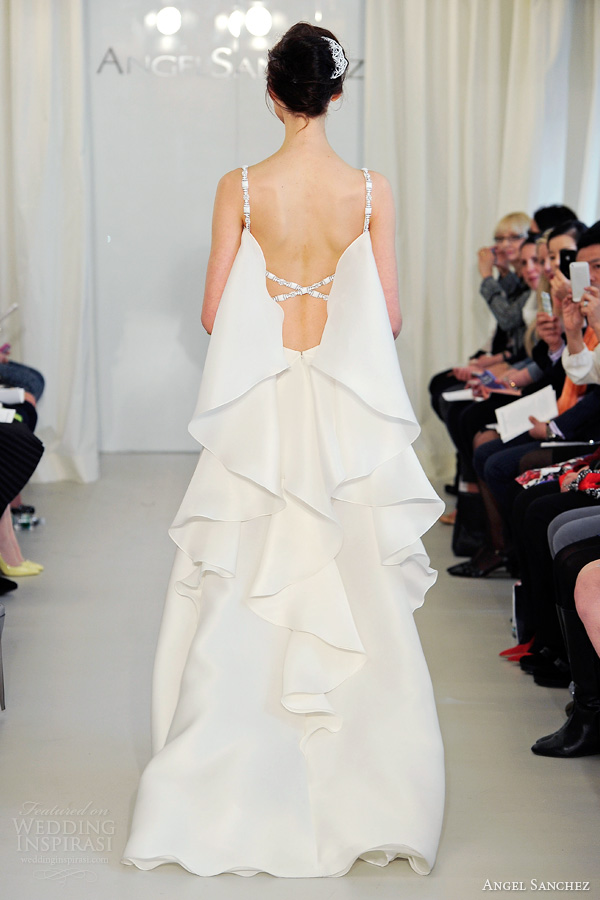 angel sanchez bridal 2014 wedding dress straps cascading ruffle back cross strap