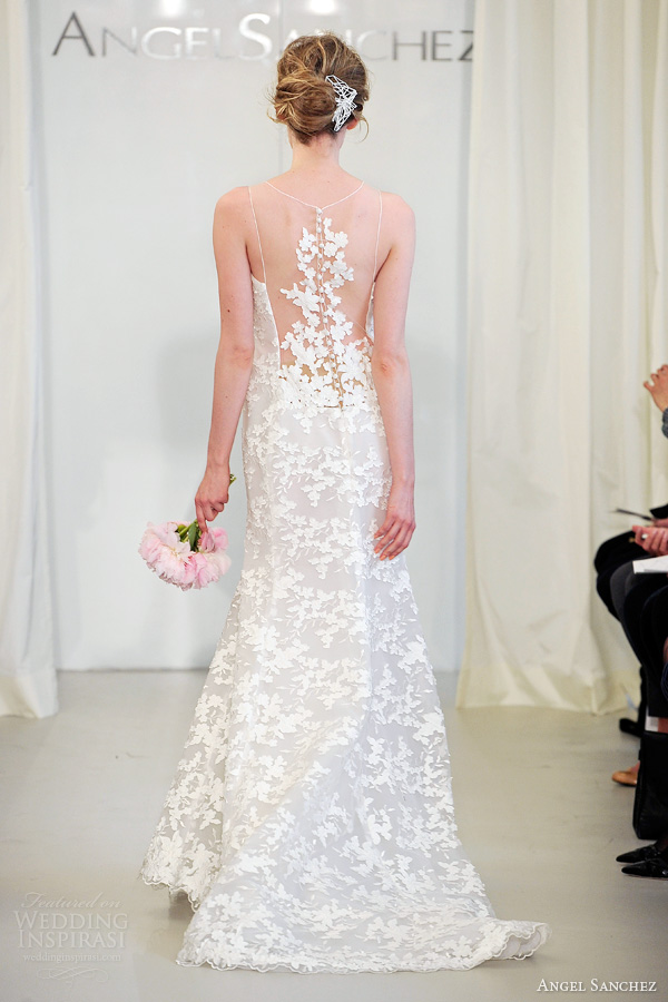angel sanchez spring 2014 bridal sleeveless illusion neckline portrait back dress