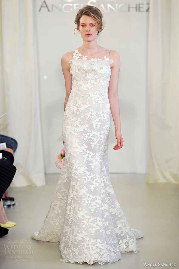 7a390fcdb50 angel sanchez spring 2014 bridal sleeveless illusion neckline wedding dress