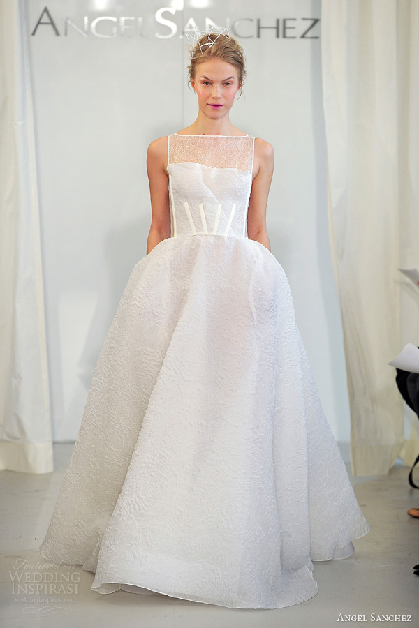 Angel Sanchez Wedding Dresses Spring 2017 Bridal Sleevless Ball Gown Bateau Neckline
