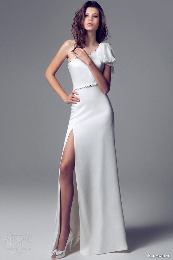 blumarine 2013 2014 sposa one shoulder puff sleeve wedding dress slit