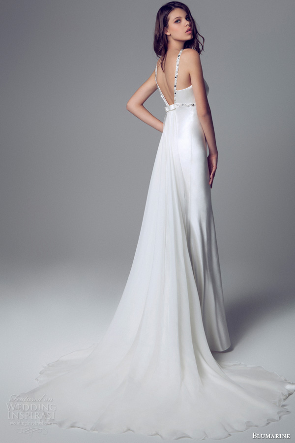 blumarine 2014 bridal collection sleeveless satin gown beaded straps waist open back train