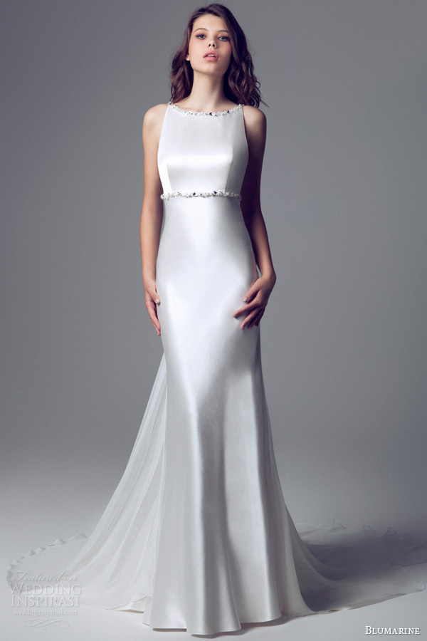 blumarine 2014 bridal collection sleeveless satin gown beaded straps waist