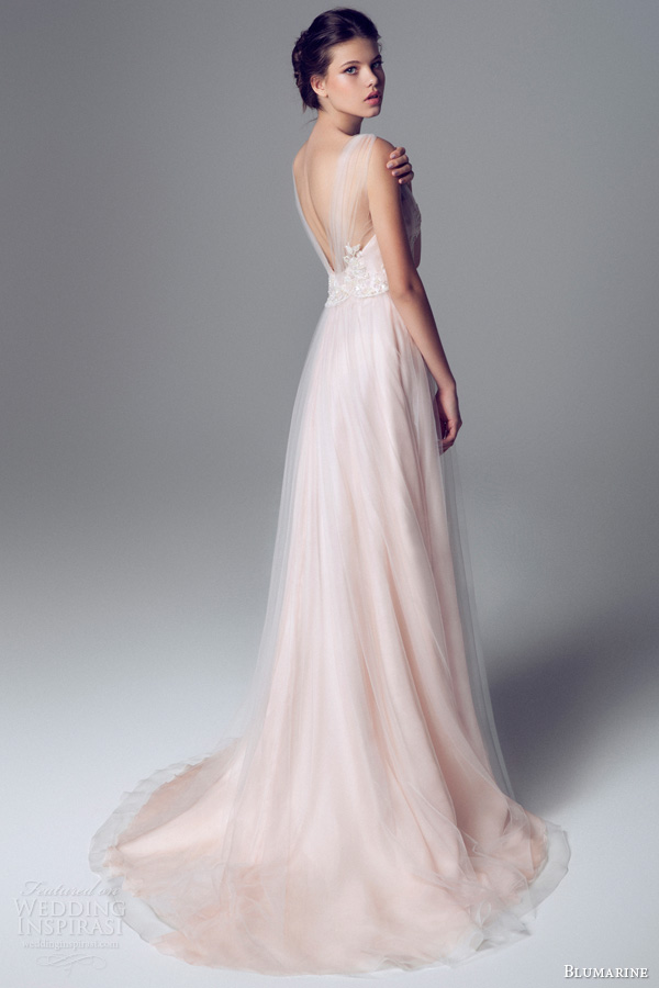 blumarine 2014 bridal pink wedding dress gathered straps train
