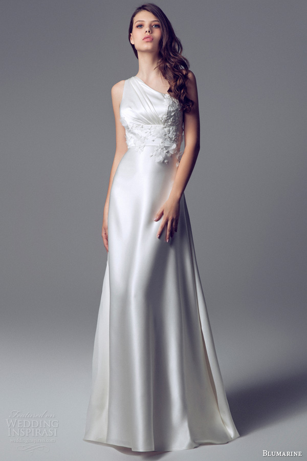 blumarine 2014 one shoulder goddess gown satin applique flower bead pleated bodice