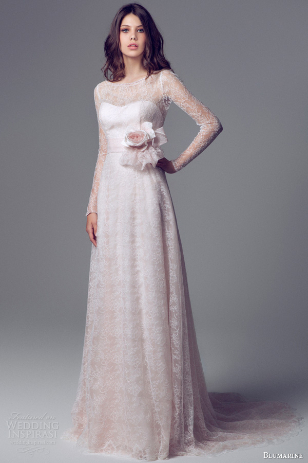 blumarine 2014 pink lace long sleeve wedding dress illusion neckline