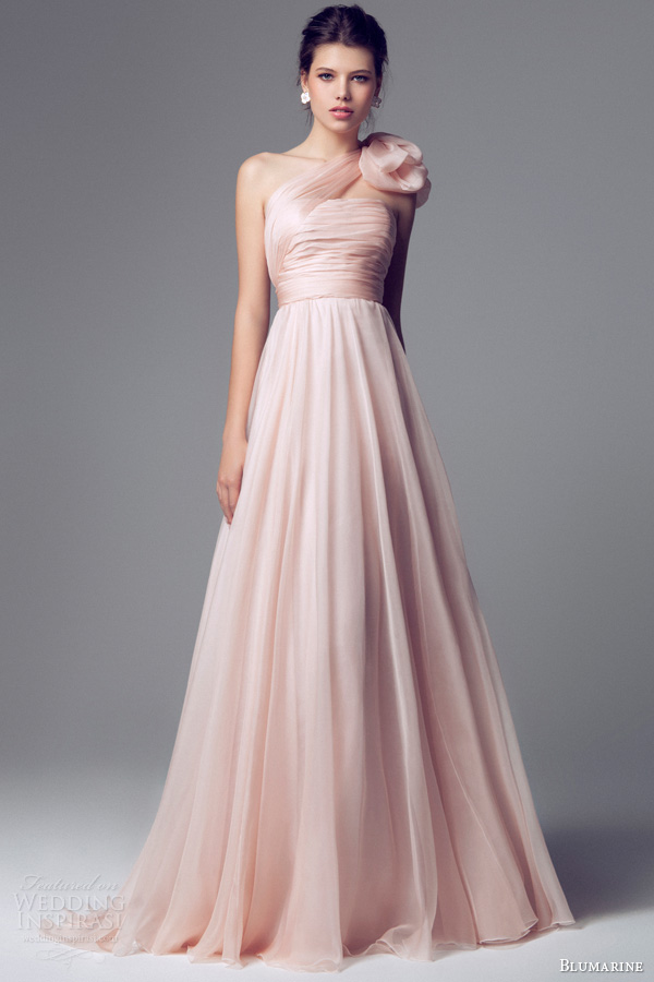 blumarine 2014 pink wedding dress one shoulder 6588