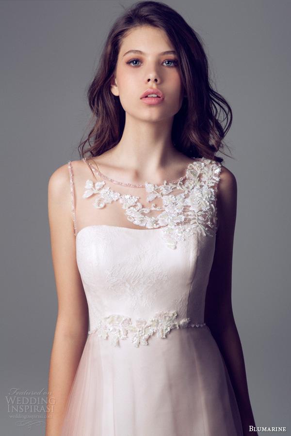 blumarine 2014 sleevless beaded illusion wedding dress ombre effect overlay beading bodice close up