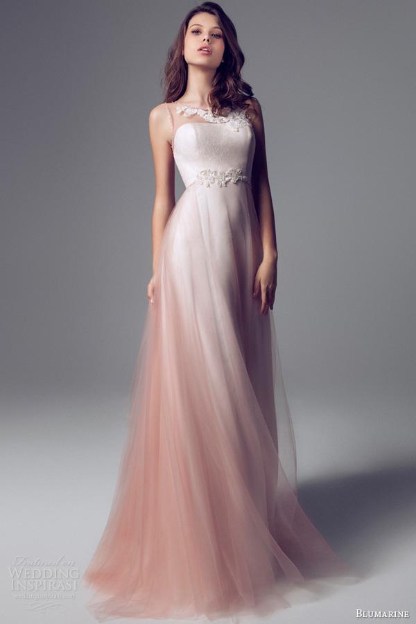 blumarine 2014 sleevless beaded illusion wedding dress ombre effect overlay