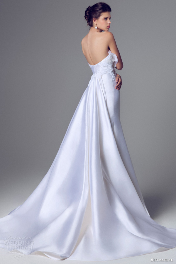 blumarine 2014 sposa strapless mermaid fit flare crumb catcher wedding dress train