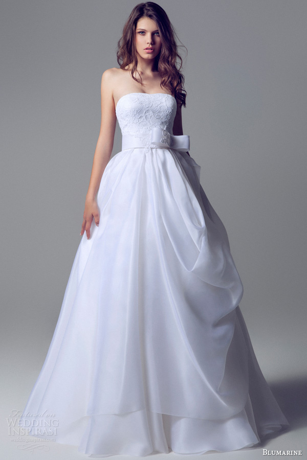 blumarine 2014 strapless ball gown lace bodice bow