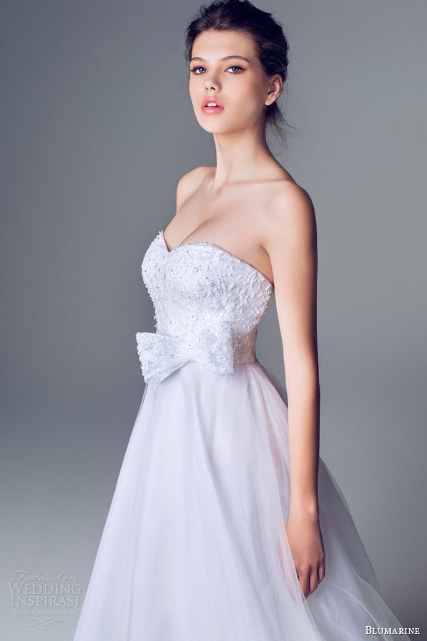 blumarine 2014 strapless gown beaded bodice bow waist