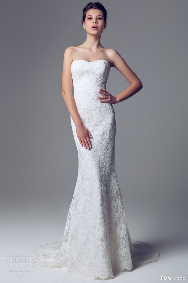 blumarine 2014 strapless lace wedding dress sheath