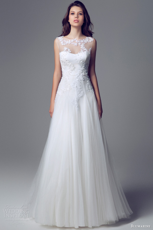 blumarine bridal 2013 2014 sposa sleeveless illusion neckline wedding dress
