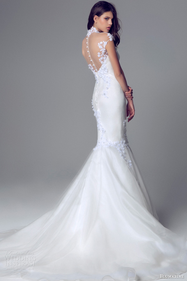 blumarine bridal 2014 cap sleeve high neck mermaid wedding gown illusion neckline train