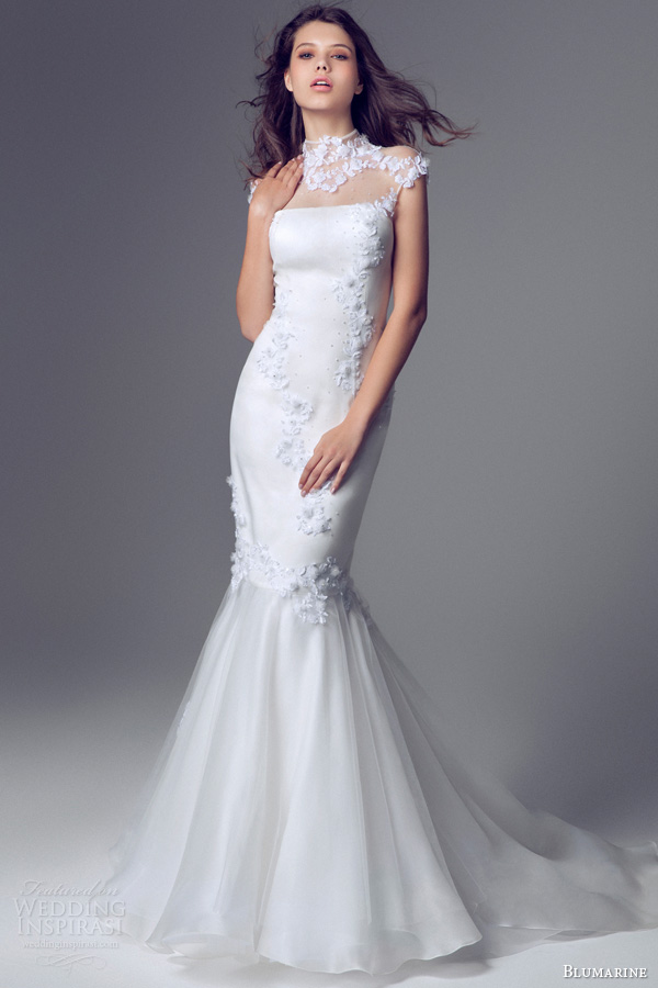 blumarine bridal 2014 cap sleeve high neck mermaid wedding gown illusion neckline