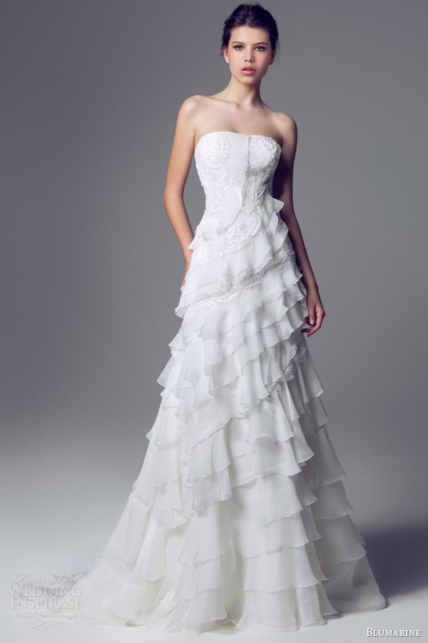 blumarine sposa 2014 strapless ruffle wedding dress