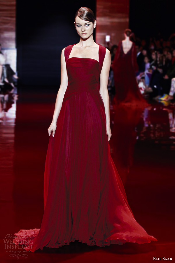 Elie Saab Fall 2017 Couture D Red Dress Straps