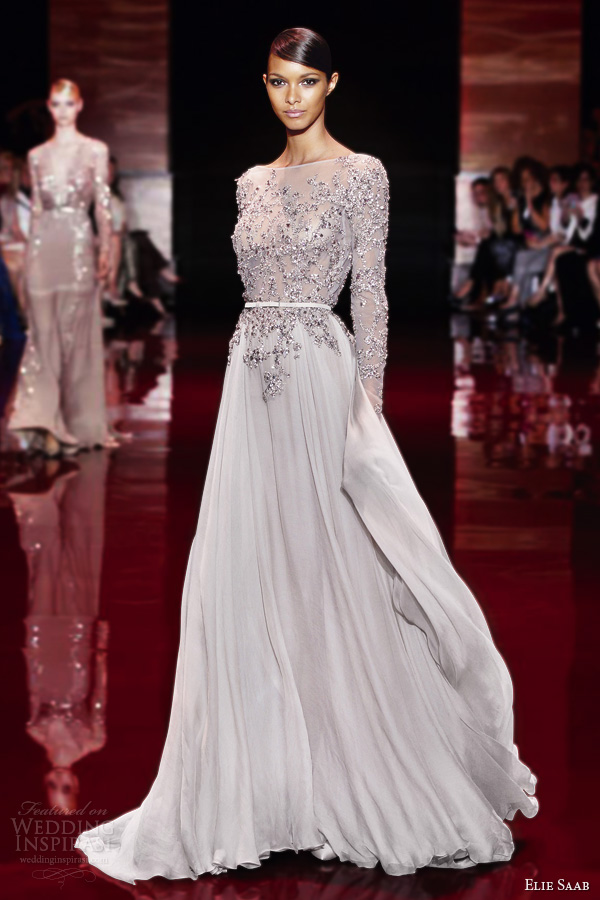 elie saab fall 2013 2014 couture long sleeve gown embellished bodice