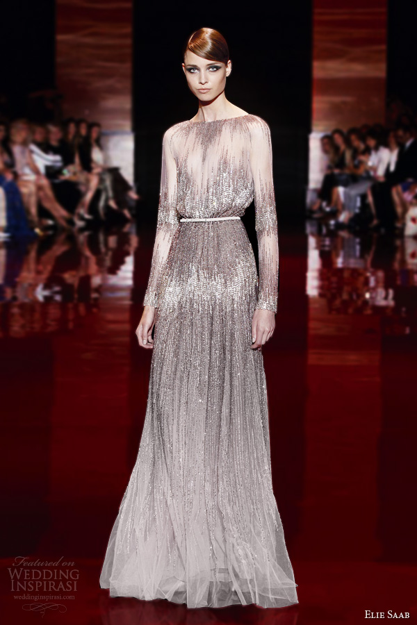 elie saab fall 2013 2014 couture long sleeve oscar dress