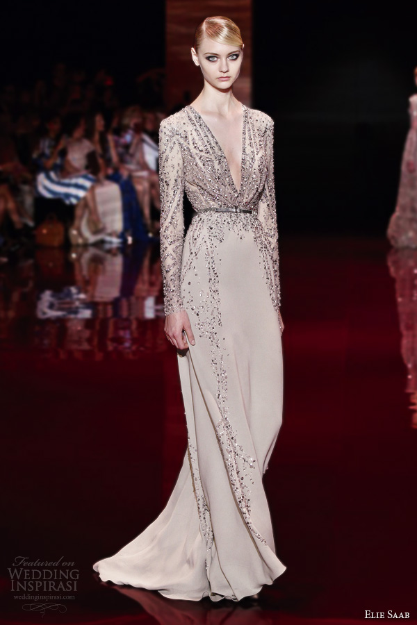 elie saab fall 2013 2014 couture long sleeve v neck beige gown