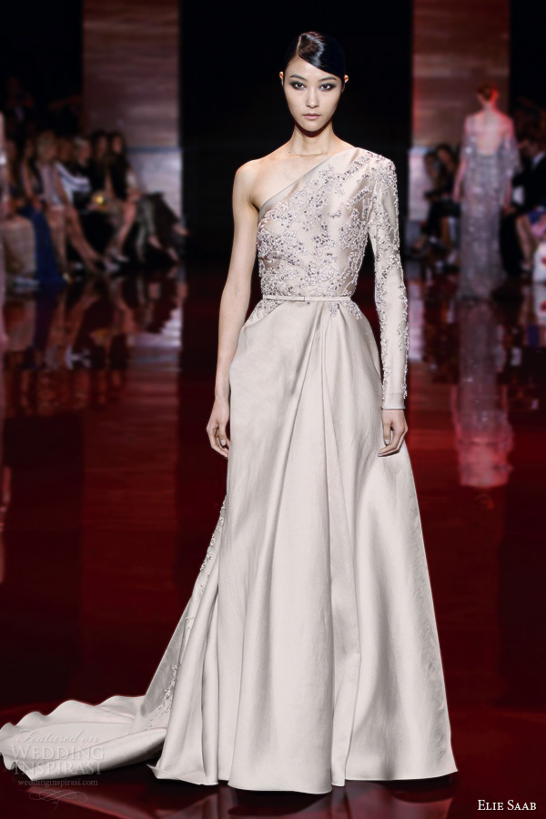 elie saab fall 2013 2014 couture one shoulder long sleeve beige gown