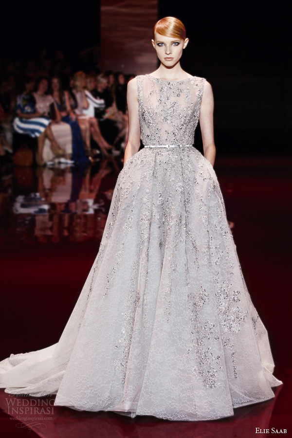 elie saab fall 2013 2014 couture sleeveless bateau neck ball gown embellished