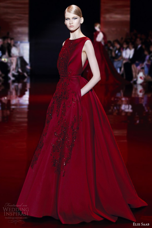 elie saab fall 2013 2014 couture sleeveless red ball gown