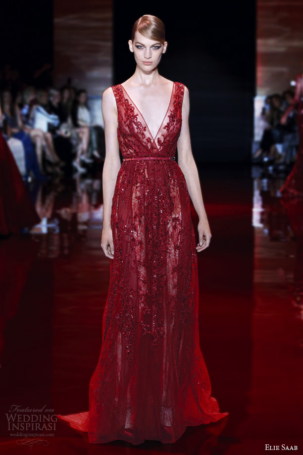 elie saab fall 2013 2014 couture sleeveless red dress